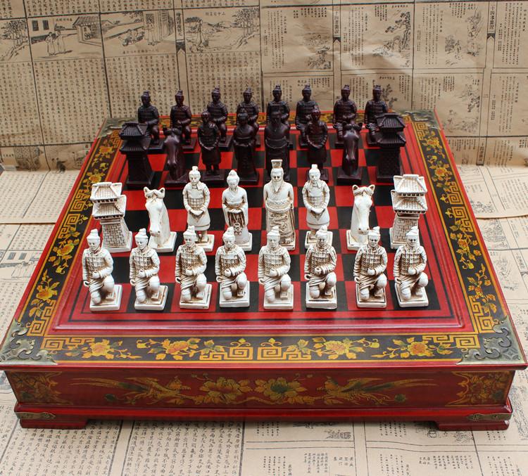 ชุดหมากรุกลายจีนขนาดใหญ่ Antique Chess Set XL