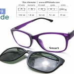 [Smart 8001 ม่วงด้าน] กรอบแว่นคลิปออนแม่เเหล็ก