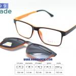 [SOFT 8052 ดำส้ม-คลิปออนดำ] กรอบแว่นคลิปออนแม่เเหล็ก