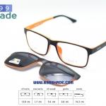 [SOFT 8050 ดำส้ม-คลิปออนดำ กรอบแว่นคลิปออนแม่เเหล็ก