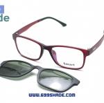 [Smart 8003 สีแดง] กรอบแว่นคลิปออนแม่เเหล็ก
