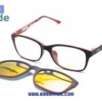 [LD7003 ดำแดง-ปรอท] กรอบแว่นคลิปออนแม่เเหล็ก