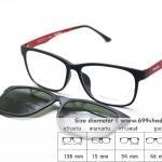 Zupio 011-C4 แดง/คลิปออนเขียวเรแบน แว่นคลิปออนแม่เหล็ก