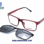 [Smart 8004 แดง] กรอบแว่นคลิปออนแม่เเหล็ก