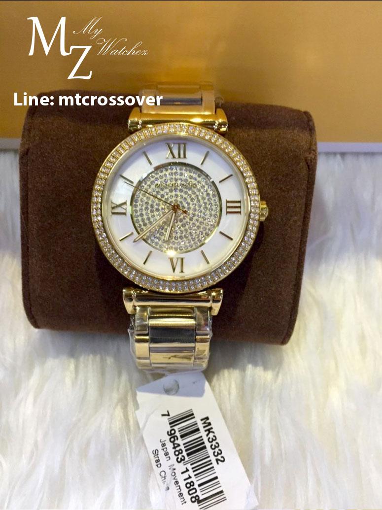 bfea74245cc2 Michael Kors Catlin Mother of Pearl Dial Gold Tone SS Quartz Ladies Watch  MK3332